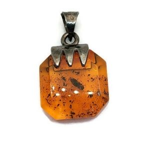 Faceted Amber Sterling Silver Pendant Mexico